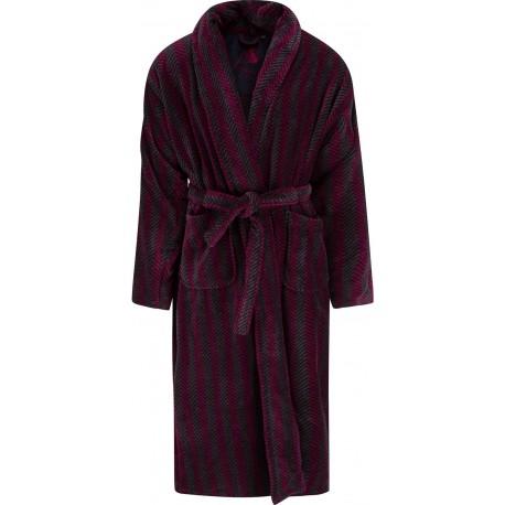 Ambassador bathrobe - Black / Burgundy