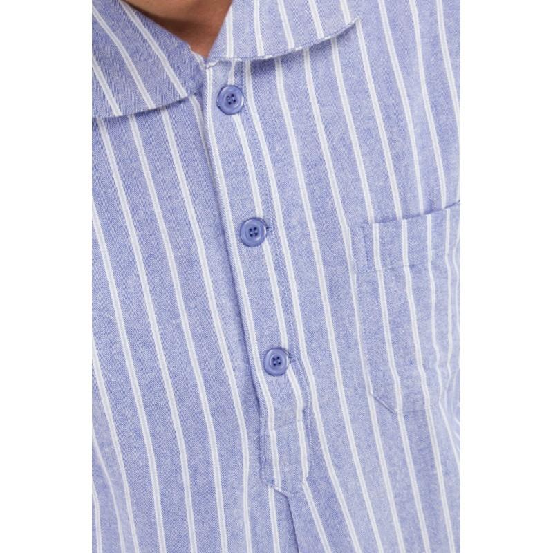 Ambassador Blue Striped Nightshirt In Flannel