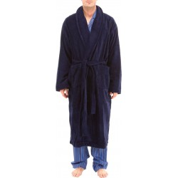 Dark blue bathrobe