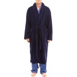 Dark blue bathrobe