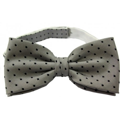 Grey dotted bow tie