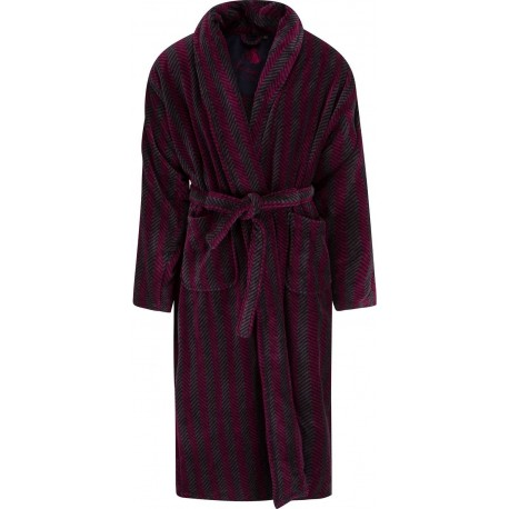 Ambassador bathrobe - Black / Burgundy