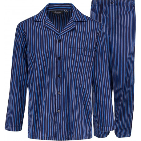 Striped poplin Pyjamas - Blue