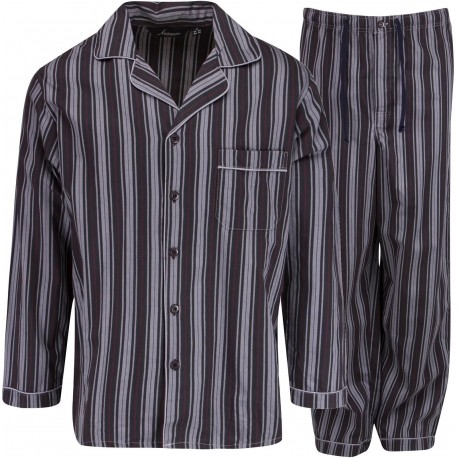 Ambassador flannel pajamas - Black / Grey