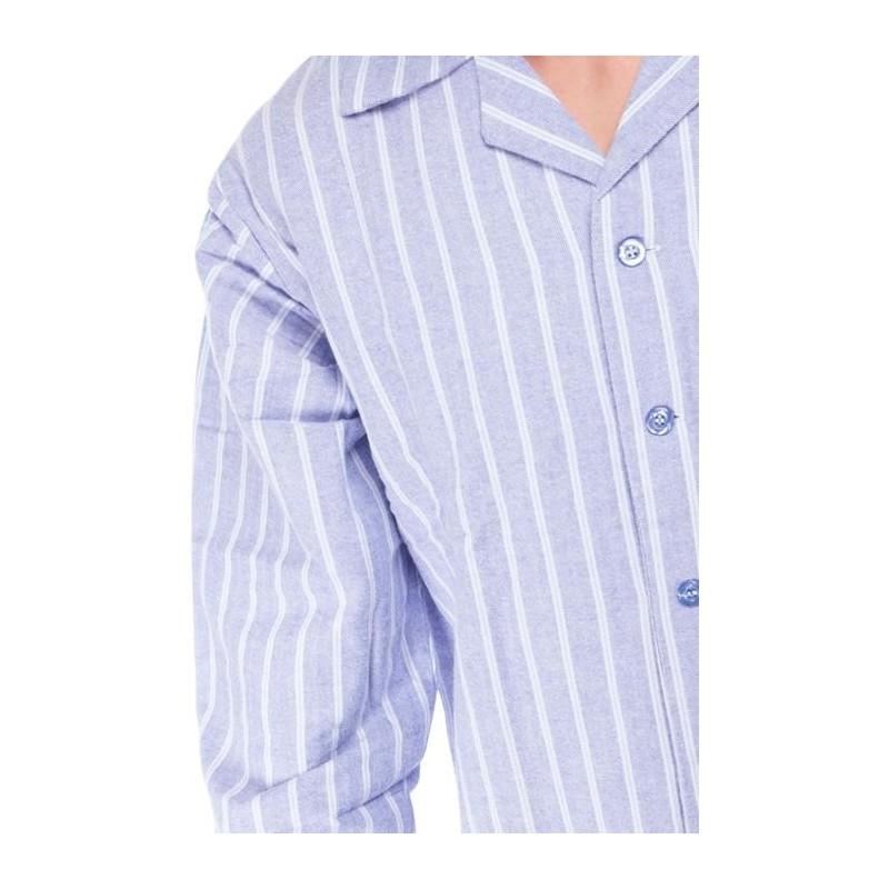 Striped Light Blue Flannel Pyjamas From Ambassador